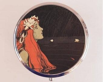 Mermaid Nymph Pill Box Case Pillbox Holder Trinket Stash Box Boho Art Nouveau Fantasy