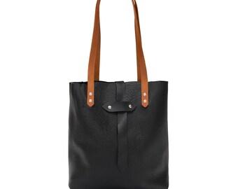 Black Leather Tote, Shoulder Bag, Handmade Leather Purse, Foil monogram