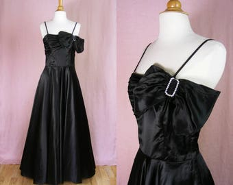 Vintage 1940s Dress - Black Satin Evening Gown - Full Skirt Ball Gown - Noir Femme Fatale Dress - Black Wedding Dress (small)