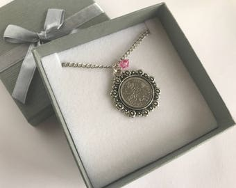 Birthstone Pendant, Birthstone necklace, Birthstone jewellery, Coin Necklace, Sixpence Necklace, Lucky Coin UK, English Necklace, Bride Gift