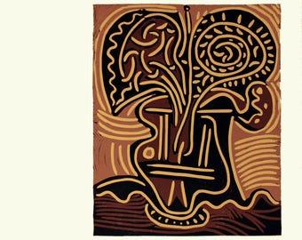 Pablo Picasso-Le vase de Fleurs-1962 Linocut