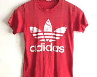 Original 70s trefoil Adidas tee, red and white, size small