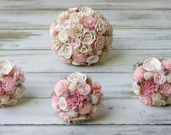 Wedding flower Package,Blush pink Bouquets,Sola flowers,sola Bouquets,Bridal Bouquet,Bridesmaids Bouquet,Boutonnieres,Corsages