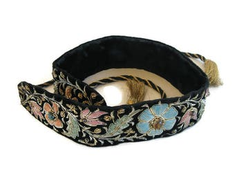 vintage zardozi belt with gold, pink, blue, green metal threads with stones