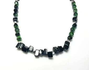 emerald green crystal black stone silver necklace black blackstone gemstone necklace beaded bib jewelry necklaces for women gifts for her