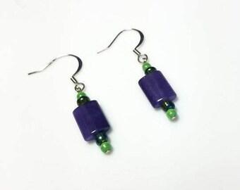 purple Malaysia jade lime green seed bead earrings hypoallergenic earrings nickel free earrings boho beaded dangle drop jewelry gift for her