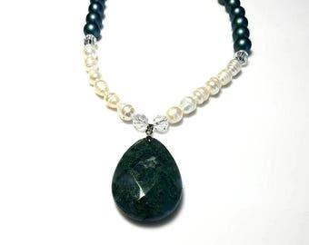 Dark Green Czech Druk Beads Stone Pendant Necklace with White Freshwater Pearls and Clear Swarovski Crystals Extra Long Statement Jewelry