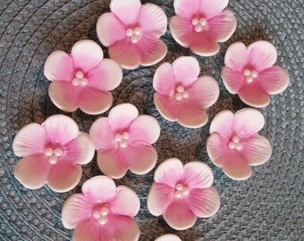 15  Pink on White  Medium Blossoms  /   Gum Paste Flowers / Edible Cake Topper and Cupcake Decorations