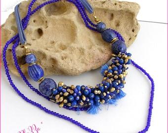 Collier pompons, perles céramique - Bleu Indigo - Sautoir cristal - perles et pompons