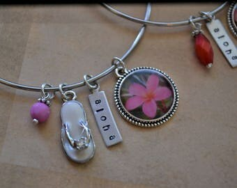 Custom Name, Custom Bangles, Silver Bracelet, Silver Bangle, Stainless Steel Bracelet, Charm Bracelet, Charms, Hawaii, Hand Stamped, Aloha