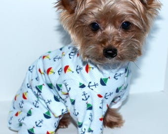 Nautical Dog Onesie Pajamas, S M L - Cute Sailboat and Anchor print flannel dogs Onesies, In Stock Ready to Ship, Fashion Dog Clothes