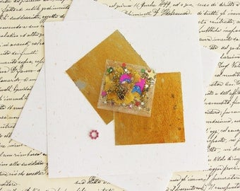 The letter precious gold and pink - writing paper and mandala jewelry-rhinestone - artist Creation, handmade, unique piece