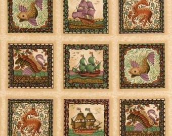 Pilgrim Fathers Collage Quilting Panel Cotton Fabric Half Metre