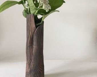 Handmade Ceramic Faux Bois Flower Vase; Rustic, Wood Grain, Stoneware Pottery