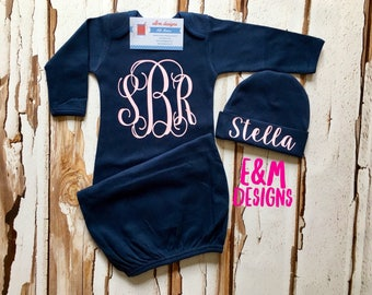 Baby Girls Coming Home Outfit, Newborn Girls Gown and Hat Set, Pink and Navy Vinyl Gown Set, Monogrammed Baby Girl Set, Girls Take Home Set