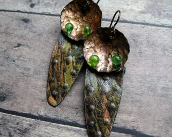 eco friendly up cycled tin earrings, Turkoman Goes Modern Rainforest, vintage tin jewelry, tin earring, lampwork headpin, AnvilArtifacts