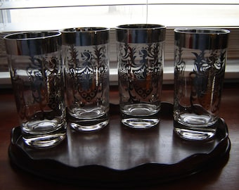 Barware glasses set of four Kimiko mid century highball glass Guardian crest silver rim 10 oz glassware partyware