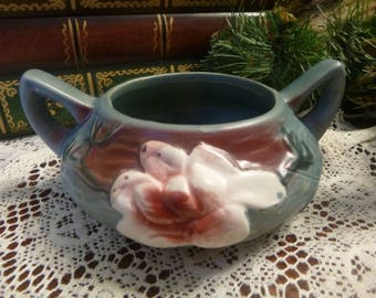 Roseville 04 Planter Blue Magnolia Sugar Bowl Reproduction   (T)