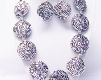 Chunky Antique Silver Rope Etched Disc Bead Necklace/Earrings