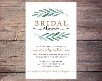 Garden Party Bridal Shower Invitation, Greenery Wedding Shower Invite, Botanical, Leaves, Wedding DiY Printable- Waverly