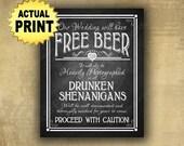 Free Beer Wedding sign, Drunken Shenanigans, wedding bar sign, printed wedding sign, wedding print, rustic wedding, chalkboard bar poster