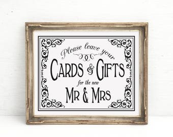 Wedding Decorations, Wedding Signage | PRINTED Black White Wedding Sign, Traditional Wedding Sign, Cards & Gifts, for Mr Mrs, Gifts Table