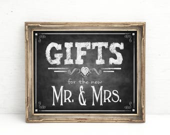Rustic Chalkboard Wedding Sign | PRINTED Gifts for Mr & Mrs, Gifts Wedding sign, Rustic Chalkboard wedding Gift Table Sign, wedding decor
