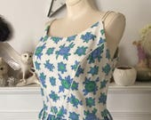 50s Sweet Blue Abstract Floral White Sundress