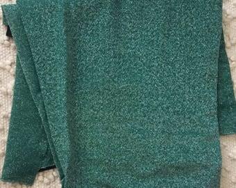 3yrds 50s Green Silver Stretch Lurex Fabric