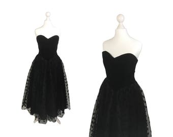 Trina Lewis And Marjon Couture Vintage Dress | Strapless Black Velvet Bodice Dress With Polka Dot Net Skirt | Full Skirt Evening Dress