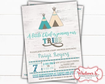 Tribal Baby Shower Printable Invitation | Boho Printed Baby Shower| TeePee Baby Shower Printable Invitation | Baby Tribe | Little Chief Baby