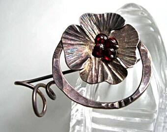Sterling Garnets Flower Brooch, Hand Wrought Silver Petals, Pansy Dogwood Blossom, Garnet Glass Bead Berries, Artist Signed, 7 Grams