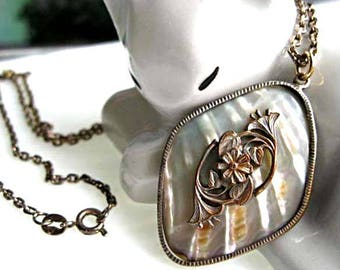 Art Nouveau Flower Pendant, Mother of Pearl Rainbow Shell, Silver and Brass Floral Leaf Motif, 19 Inch Sterling Chain