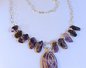 AMETHYST Oval SPIRAL Necklace