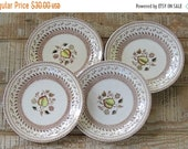 ON SALE Johnson Brothers Fruit Sampler Bread and Butter Plates Set of 4 Vintage Farmhouse Dishes, Wedding, Brown Transferware China