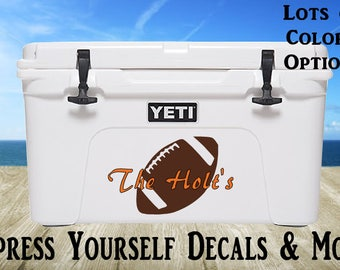 Football Yeti Cooler Vinyl Decal Personalized