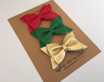 Holiday Set - Faux Leather 3 inch bow clips Gift Set