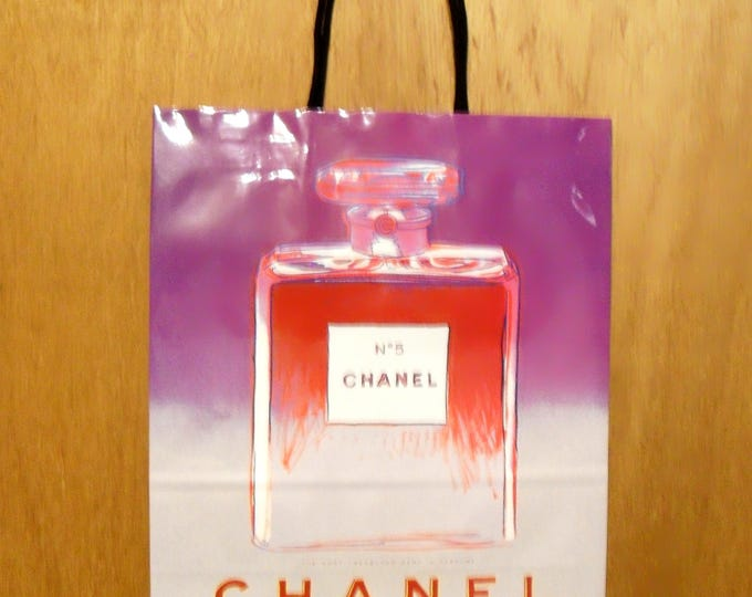 Vintage 1990s Andy Warhol Chanel No. 5 Perfume Promotional Large Purple Paper Shopping Bag Designer Fragrance Collectible