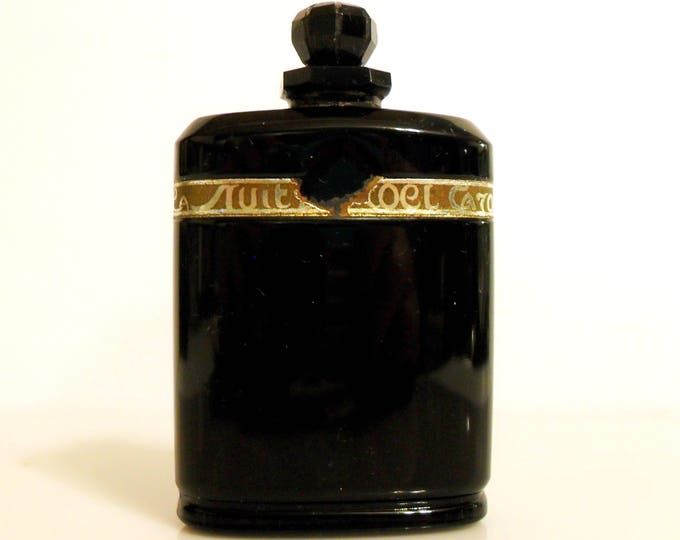 Antique Perfume 1920s Nuit de Noel by Caron 1 oz Parfum Baccarat Black Crystal Vintage Extrait Flacon