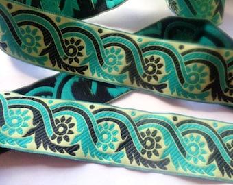 Jacquard Embroidered Ribbon, Cream / Aqua / Black, 1 1/2 inch wide, 1 yard, For Home Decor, Accessories, Apparel