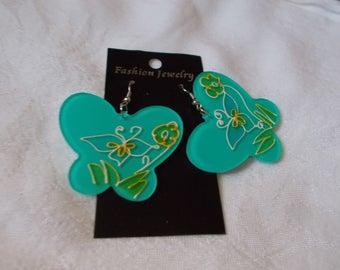 Awesome Big Sea Foam Green Butterflies-R3846