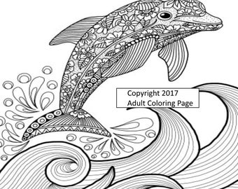 Aquatic Coloring Page Figure 4.  Printable Coloring Page, Instant Download, Adult Coloring Page.