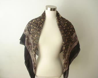 Vintage Black and Brown Scarf - Patterned Floral Large Square Scarves - Women's Accessories 1970s