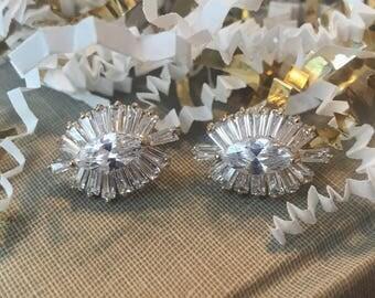 Baguette & Marquise Diamond Gatsby Gold Earrings