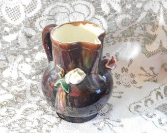 Pitcher made in Austr ?, Brown Flowered Pitcher, Pottery Flowered Pitcher, Primitive Flowered Pitcher, Vintage Kitchen Decor, Home Decor )s*