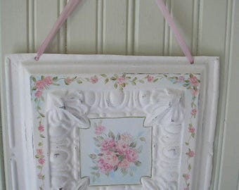 Vintage Wall Hanging, Hand Painted on Vintage Tin Ceiling Tile, Shabby Cottage, Cottage Chic, Bouquet of Pink Roses