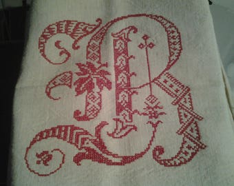 VINTAGE TEA TOWEL EMBROIDER MACHINE IN RED