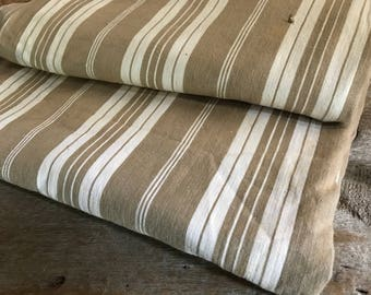 Vintage French Linen Ticking, Buff Pin Striped, Sewing Projects, French Fabric Textiles