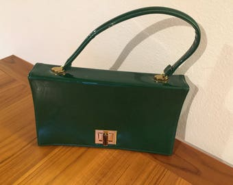 1950s Green Patent Leather Handbag