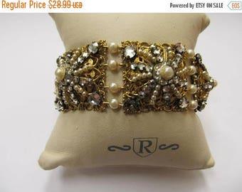 On Sale Vintage Wired Faux Pearl and Rhinestone Bracelet Item K # 958